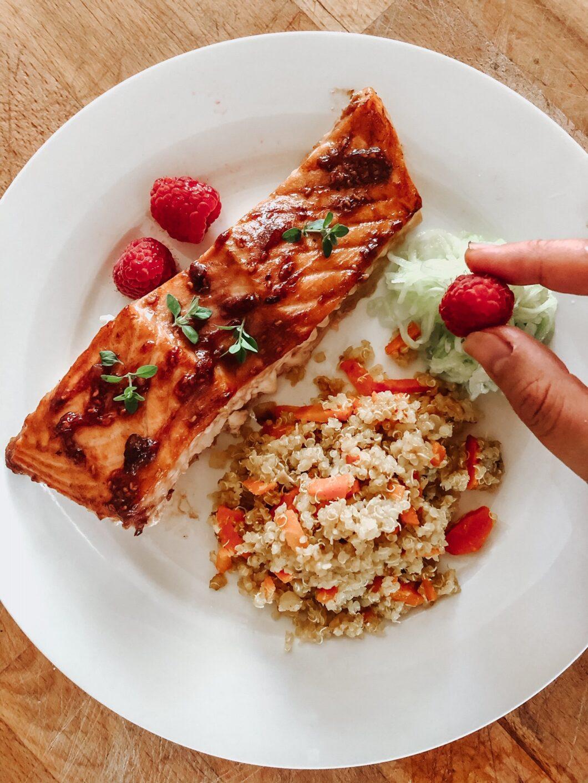 Raspberry Balsamic Glazed Salmon