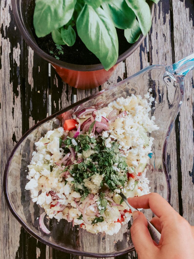 Watermelon salad with Moldovan Brânza